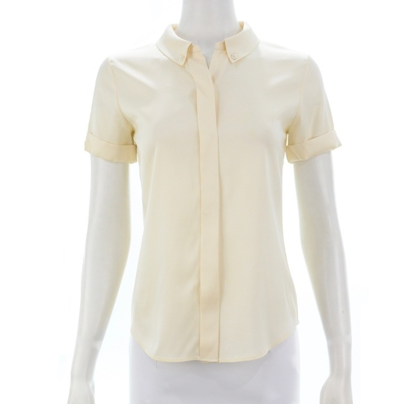 Theory Tops - THEORY IVORY SILK BLEND BUTTON DOWN SIZE PETITE
